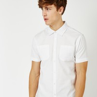 The Idle Man Twill Short Sleeve Shirt White