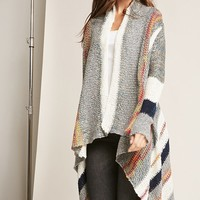Multicolored Open-Front Cardigan