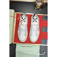 OFF-white Men Fashion Boots fashionable Casual leather Breathable Sneakers Running Shoes