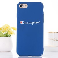 Champion New fashion letter print protective cover phone case Blue