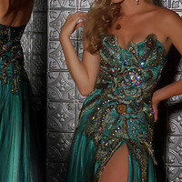 Prom Dresses, Celebrity Dresses, Sexy Evening Gowns at PromGirl: Strapless Peacock Inspired Dress