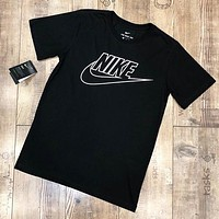 NIKE Summer New Letter Hook Print Women Men Top T-Shirt Black