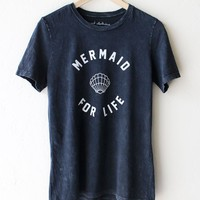 Mermaid For Life Relaxed Tee - Acid Wash Black