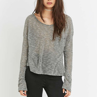 BDG Patch Pocket Sloppy Grey Striped Top - Urban Outfitters