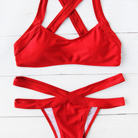 Cross Back Strappy Bikini Set -SheIn(Sheinside)