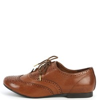 Breckelle's Oxford-88 Tan Perforated Oxfords | MakeMeChic.com