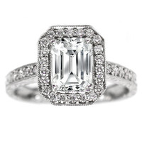 Engagement Ring - Emerald Cut Diamond Halo Engagement Ring Vintage Style Setting 0.40 tcw. In 14K White Gold - ES49EC