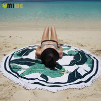 Banana Leaf Printed Quick Dry Polyester Round Beach Towel