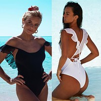 New solid color pleated lace sexy cross bandage open back one-piece swimsuit