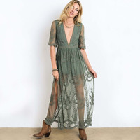 Tainted Rose Lace Maxi Dress in Sage
