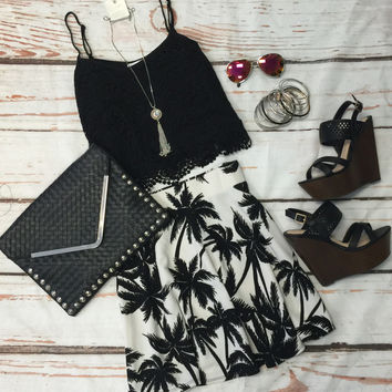 Palm Tree Skater Skirt
