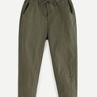 Drawstring Waist Peg Pants - Olive Green