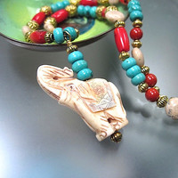 Lucky Elephant Necklace Carved Bone Pendant, Turquoise Magnesite, Latte Jasper, Red Coral, Bali Style Brass Beaded Strand