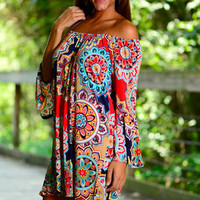 Just For You Dress, Navy-Multi