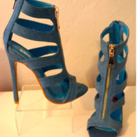 Passion Elite Denim Fashion Stilettos Shoe