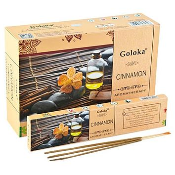 Goloka Aroma Cinnamon Incense - 15 Gram Pack (12 Packs Per Box)