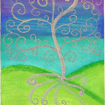 ACEO Silver Tree Artist Trading Card SFA