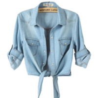 Women's Cropped Shirt with Tie Front