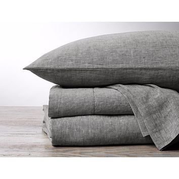 Charcoal Chambray Organic Relaxed Linen Bedding by Coyuchi