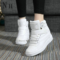 Height increased high top  causal white sneaker boots