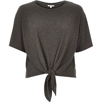 River Island Womens Dark grey knotted front t-shirt