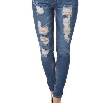 Faded Ripped Skinny Fit Jeans