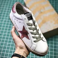 GGDB Golden Goose Uomo Donna Pink Star Fashion White Shoes - Sale