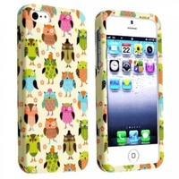 eForCity Snap-On Rubber Coated Case for Apple iPhone 5/5S - Retail Packaging - Fancy Owls