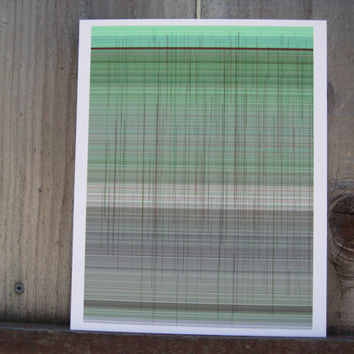 Green Grey Brown Abstract generative art inspired by Paul Klee,  giclee print cotton rag paper Limited Edition Lines12