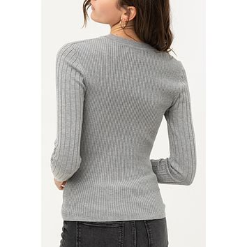 Fitted Round Neck Pullover Ribbed Knit Sweater Top