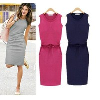 Scoop Slim Bodycon Solid Sleeveless Lace Up Knee-length Dress
