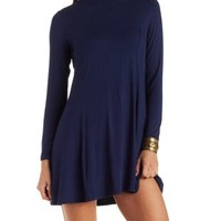 Navy Slouchy Turtleneck A-Line Shift Dress by Charlotte Russe