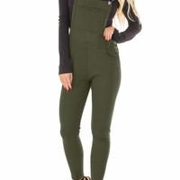 Army Green Denim Overall for Women