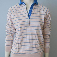 Vintage 1980's Light Pink and Blue Striped Long Sleeve Polo Rugby Shirt with Front Muf