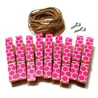 Pink Dorm Decor Photo Clothesline Kit Honeycomb Geometric Wall Hanging Decorative Clothespins & Twine Boho Chic Desk Decor College Organizer