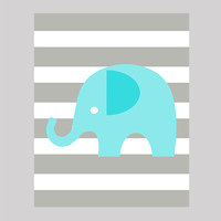 Instant Download Aqua Elephant on Gray Stripes Print CUSTOM COLORS digital nursery decor art baby room decor print digital download 8x10