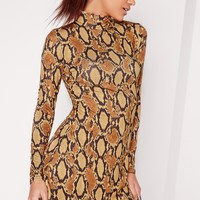 Missguided - Roll Neck Snakeskin Swing Dress Camel