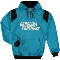 Men's Carolina Panthers Majestic Blue Big & Tall 1/4-Zip Pullover Hoodie