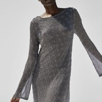 DRESS WITH METALLIC THREAD AND RINGS DETAILS