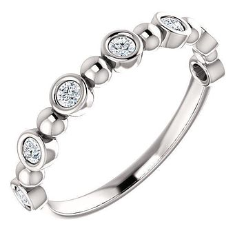 *Juliette Round Diamond or Moissanite 1/2 Eternity Bezel-Set and Beaded Band