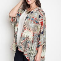 Taupe Bohemian Feather Pom Pom Kimono Top Plus Size (XL)