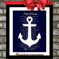 Wedding Gift: Song Lyric Anchor Art,  Popular Wedding Anniversary Gifts Engagement Print Unique Wall Art Picture Home Decor Marriage Poem