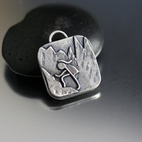 Mountaineer Hiking Girl Pendant in Sterling Silver