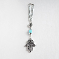 Turquoise Hamsa Rear View Mirror Charm
