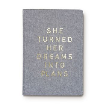 She Turned Her Dreams Into Plans Journal Fabric Journal