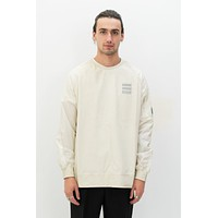 Overdyed Nylon Sleeve Crewneck in White