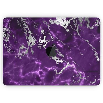 "Purple Marble & Digital Silver Foil V2- Skin Decal Wrap Kit Compatible with the Apple MacBook Pro, Pro with Touch Bar or Air (11"", 12"", 13"", 15"" & 16"" - All Versions Available)"