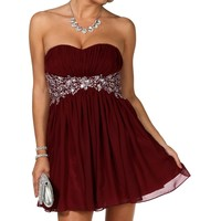 Delilah- Burgundy Homecoming Dress