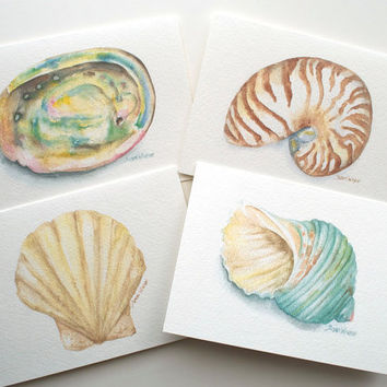 Seashell Watercolor Painting Note Card Set of 4