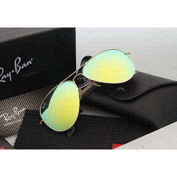 Aviator Sunglass Gold Green Mirrored RB 3025 112/19